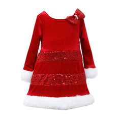 Bonnie Jean Little Girls' Sequin Santa Dress (2T). Dress: 90% polyester, 10% spandex. Faux-fur trim: 90% acrylic, 20% polyester. Band: 100% polyester. Machine wash. Velvet waist sash ties in back.