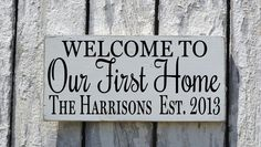 Personalized Our First Home Sign, Rustic Family Name Established Welcome Wood Plaque, Wedding Gift, Couples New House Art Porch Wall Decor