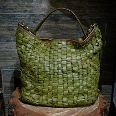 Green Hand Woven Vegetable Tan Leather Tote-