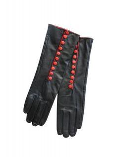 Ladies black & red leather gloves