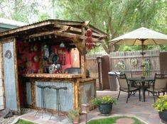 Eclectic Outdoor Kitchen/Garden, Outdoor Kitchen and Patio with Garden, Patios & Decks Design Rustic Outdoor Kitchens, Outdoor Kitchen Design, Outdoor Rooms, Outdoor Gardens, Outdoor Living, Outdoor Decor, Rustic Outdoor Bar, Simple Outdoor Kitchen, Bar Shed