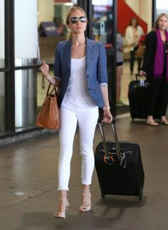 Denim on denim. Rag & Bone Capri Zip jeans in Bright White; Band of Outsiders blazer. #KristinCavallari