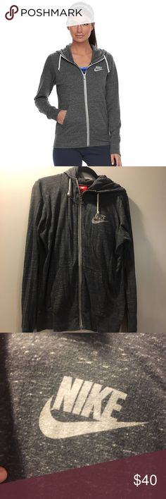 Nike Vintage Grey Heathered Hoodie Nike vintage collection. Flawless condition, like new. Heathered grey with a somewhat aged look to it. Metal zipper. Soft material. Medium to light weight. Size large, fits likes medium. Nike Tops Sweatshirts & Hoodies
