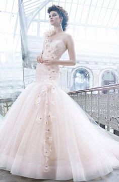 Bridal Gowns: Lazaro Mermaid Wedding Dress with Sweetheart Neckline and Dropped Waist Waistline