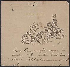 Citation: Sketch of two cyclists, between 1873 and 1903 . Otto Bacher papers, Archives of American Art, Smithsonian Institution.