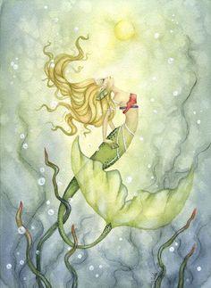Fantasy Fine Art Print - 8.5x11 - Emerging from the Deep - Whimsical Mermaid Art. $20.00, via Etsy.