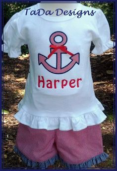Girls Ruffle Shirt and Shorts Outfit with Anchor by TaDaDesignsInc, $40.00