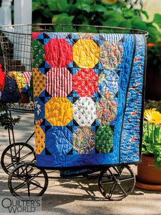 This project is featured in Spring 2020 Quilter's World magazine. Colorful Quilts, Blue Quilts, Bird Patterns, Quilt Patterns, Cartoon Dog, Easy Quilts, Free Motion Quilting, Quilting Patterns