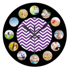 Purple Chevron Zig Zag Pattern Photo Collage Large Clock find more personalized clocks at www.mouseandmarker.com