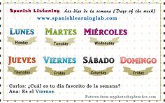 Spanish days of the week (Spanish audio listening) 1. Spanish conversation excerpts: Spanish days of the week – Los días de la semana 2. Main Spanish Listening: What's your favorite day of the week?– ¿Cuál es tu día favorito de la semana? 3. Spanish practice: Some simple questions about Spanish days of the week
