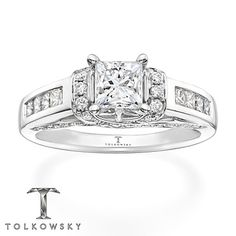 Kay - Tolkowsky Engagement Ring 1 3/8 ct tw Diamonds 14K White Gold