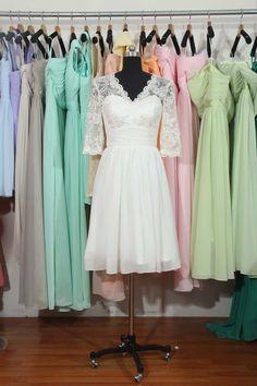 Elegant Bridesmaid Dress Lace Chiffon Bridesmaid by harsuccthing