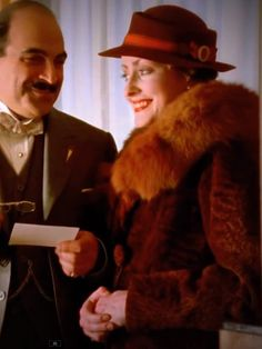 Hercule Poirot & Miss Felicity Lemon. Long a fan of Agatha Christie's Belgian detective Hercule Poirot, I l fell in love with the show. Well-acted, period-accurate costuming, and Monsieur Poirot was one of the smartest detectives to come down the pike! Agatha Christie's Poirot, Hercule Poirot, Mystery Film, Mystery Series, Pauline Moran, Detective, Moustache, David Suchet, Miss Marple