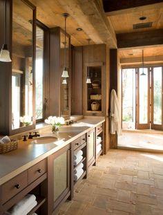 Bathroom: open gym shower with giant accordion door. Indoor outdoor shower. Dream bathroom!!!