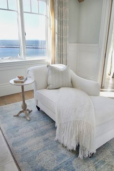 Of Sitting Area In Master Bedroom Chaise Lounges Cozy Corner 5 House Of Turquoise, Chaise Longue Design, Master Bedroom, Bedroom Decor, Master Suite, Seaside Bedroom, Bedroom Furniture, Bliss Home And Design, Beach House Decor
