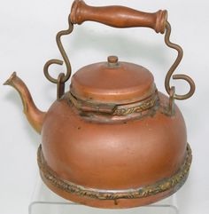 Vintage #TeaKettle Ornate #Copper Plated Wooden Handle Decorative #Teapot
