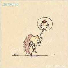 1467 #プリン Dessert #illustration #hedgehog #panda #namiharinezumi #イラスト #ハリネズミ #パンダ #なみはりねずみ