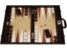 Backgammon compétition Wycliffe Brothers 3e génération – croco brun, surface de jeu beige: Surface de jeu ultra-lisse en V-FiberTM pour…