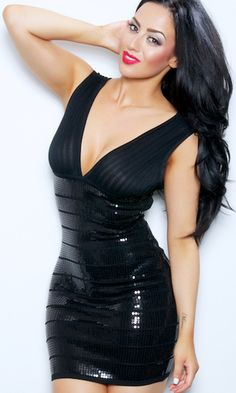 """DUBIA"" GLITZY SEQUIN BODYCON BANDAGE DRESS"