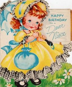 little miss Birthday Cards For Niece, Vintage Birthday Cards, Vintage Greeting Cards, Birthday Greeting Cards, Vintage Postcards, Happy Birthday, Birthday Greetings, Vintage Pictures, Vintage Images