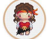 PIRATESS: a pixel art counted cross stitch pattern - digital download - printable pdf file