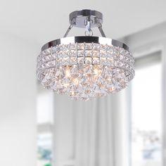 Antonia 4-light Crystal Semi-flush Mount Chandelier with Chrome Iron Shade - 16404231 - Overstock.com Shopping - Big Discounts on The Lighting Store Flush Mounts