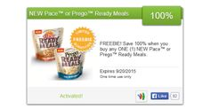 Hurry!  A new SavingStar Freebie is available!  Hurry and get a Free  Pace or Prego Ready Meals.