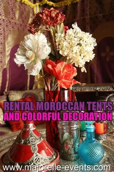 Moroccan tent with Moroccan decoration. Moroccan Tent, Moroccan Party, Arabian Nights Party, Gypsy Caravan, Tiny House On Wheels, Colorful Decor, Bridal Shower, Workshop, Wedding Ideas