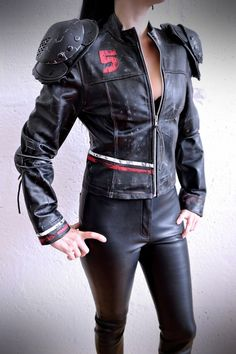 Apocalypse Jacket Real Leather - Black/Red/ White - mad max, road warrior, burning man, cosplay, please read description for sizes