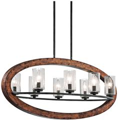 "Kichler Grand Bank 36"" Wide 8-Light Auburn Island Pendant"