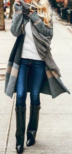 #fall #outfits / boots coat