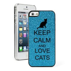 Blue Apple iPhone 5 Glitter Bling Hard Case Cover Keep Calm and Love Cats   eBay