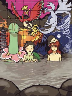 Meganium, Gold/Ethan, Ho-Oh, Lugia, Cyndaquil, and Silver