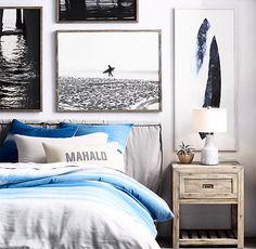 Beach Coastal Style Bedroom Decor Ideas – House Decor Tips Surfer Bedroom, Bedroom Beach, Teen Beach Room, Teenage Beach Bedroom, Beach Style Bedroom Decor, Hawaiian Bedroom, Modern Beach Decor, Master Bedroom, Bedroom Artwork