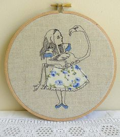 """Freehand Embroidery - Hoop Art - 'Alice with Flamingo', inspired by the illustrations from 'Alice's Adventures in Wonderland'- 6"""" (16cm)"""
