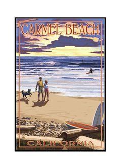 Carmel Beach, California - Sunset Beach Scene - Lantern Press Artwork (24x36 Framed Gallery Wrapped Stretched Canvas), Multi