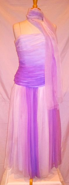 Purple & lavender ruched gown w/ scarf..sz XS