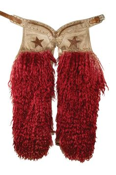 red wooly angora chaps with two-tone leather tops featuring five-pointed inlaid stars, buckstitched billet, inside pockets Vintage Cowgirl, Cowgirl Chic, Cowboy And Cowgirl, Cowgirl Style, Cowboy Hats, Texas Cowboys, Cowboys And Indians, Cowboy Gear, The Ranch