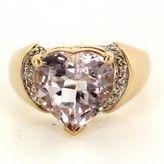 very good (VG) Estate 14 Karat Yellow Gold Diamond Light Lavender Topaz Heart Cocktail Ring Sz 8