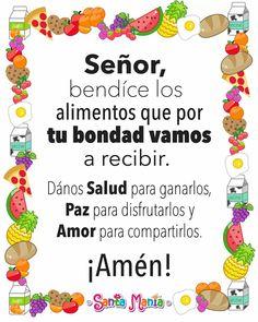 Oración de los alimentos God Prayer, Daily Prayer, Clara Berry, Spanish Prayers, Motivational Quotes For Working Out, Catholic Prayers, Good Morning Good Night, Prayer Board, Prayer Warrior