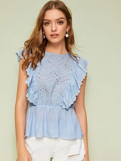 To find out about the Eyelet Embroidery Ruffle Trim Smock Blouse at SHEIN, part of our latest Blouses ready to shop online today! Fashion News, Fashion Outfits, Blouse Online, Summer Shirts, Lingerie Sleepwear, Blouse Styles, Ruffle Trim, Smocking, Blouses For Women