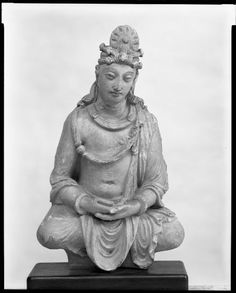 Unknown Artist, Seated Bodhisattva in Meditation, His Hands in Dhyana-mudra, c.100 BC-250 AD   Harvard Art Museums/ Sackler Museum