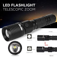 Flashlight,LandFox Super Bright Zoomable CREE XM-L T6 LED 18650 Tactical Flashlight Torch Light -- Awesome products selected by Anna Churchill