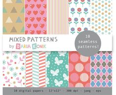 Mixed Patterns Digital Paper Pack by dariakonik, €3.00