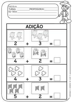 Atividade pronta - Adição junina Alphabet Tracing Worksheets, Kids Learning Activities, Professor, English, Letter E Activities, Letter F, Preschool Math, 1st Grades, Activities For Kids