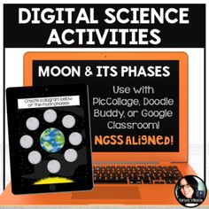 Digital Science Activities Moon and its Phases Digital Resources Pic Collage - Use this 10 page resource with your 3rd, 4th, 5th, or 6th grade classroom or home school students. You get five activities over key science skills. Projects, formative assessments, and more are included. You'll need access to PicCollage, Doodle Buddy, or Google Classroom to complete these digital resources. {third, fourth, fifth, sixth graders, upper elementary, middle school}