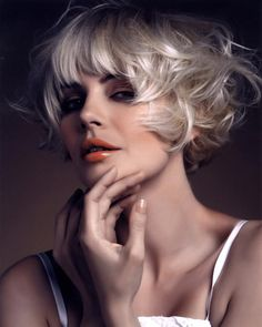 Short Bob With Bangs Hair Cut - I do like this cut, but I will never be a platinum blonde - LOL!
