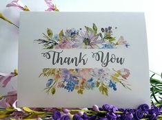 Thank You Cards  Water Colour Floral Design  with Envelopes