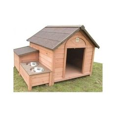 LOVE the feeding station attached to the dog house.