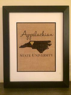 Appalachian State University Burlap Print. by theCuriousChalkboard